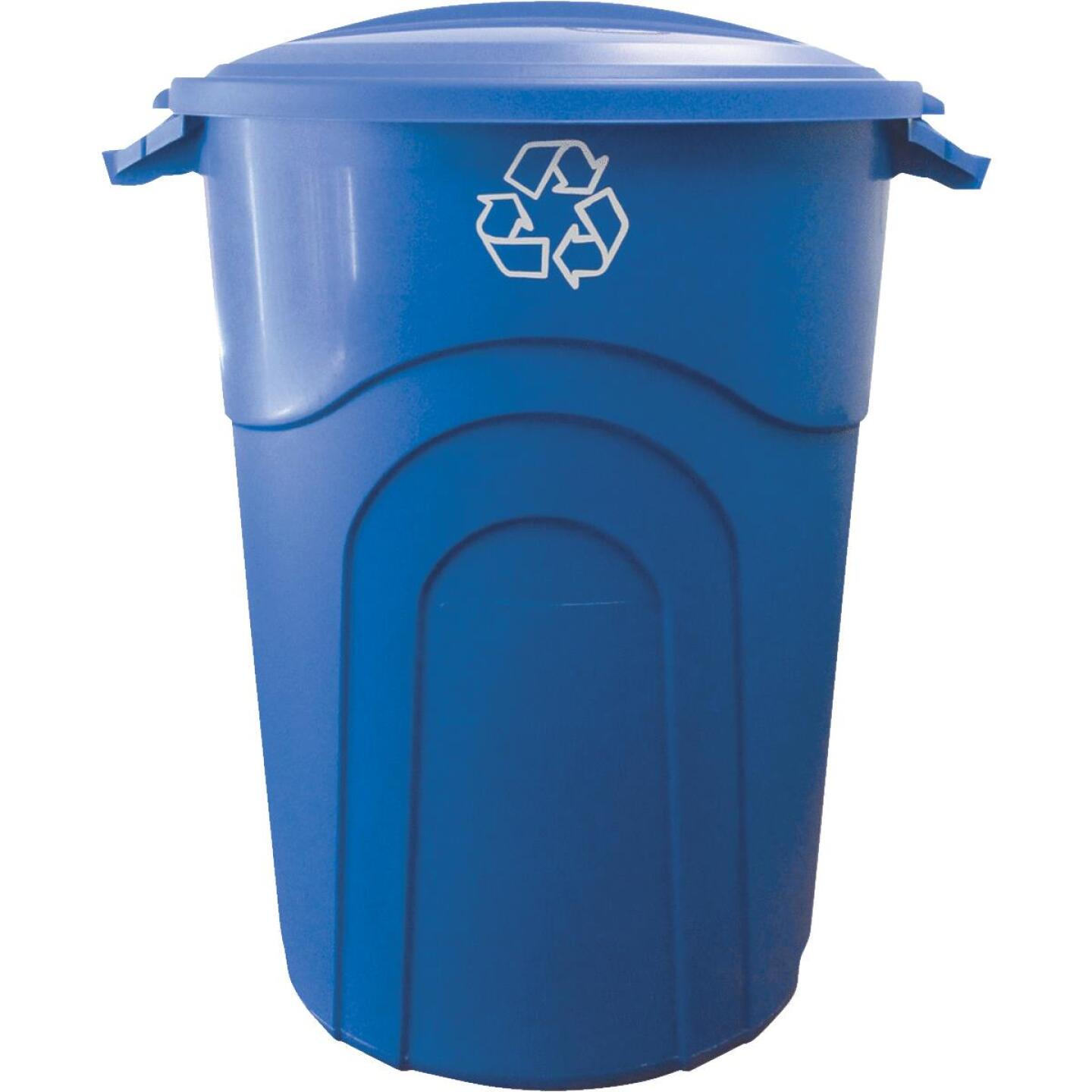 United Solutions 32 Gal. Recycling Trash Can with Lid Image 1